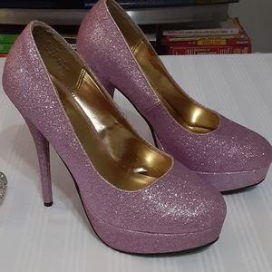 Glitter pink heels stilettos Charlotte Russe 8